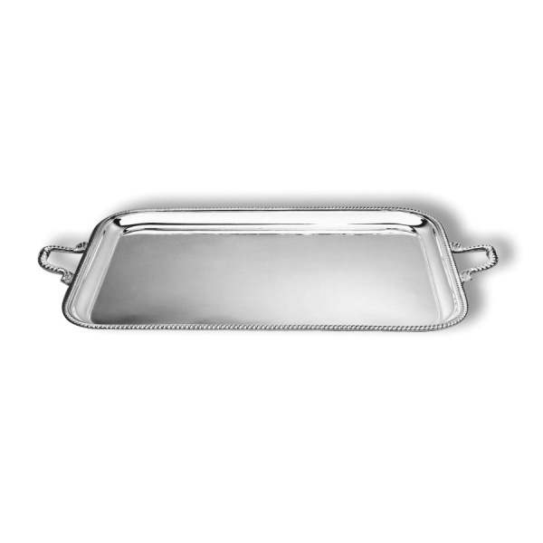 Rectangular tray with mounted rim