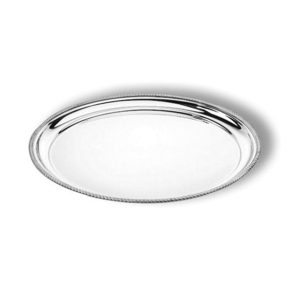 Round tray with mounted rim
