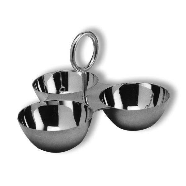 Snack dish holder 3 bowl