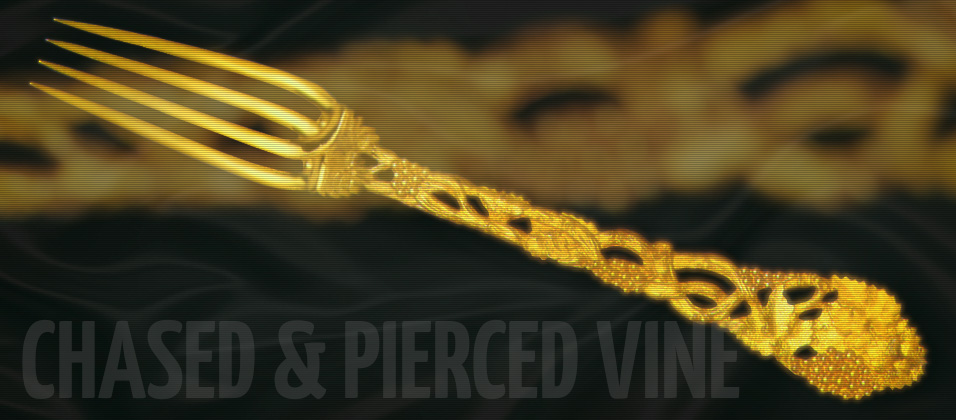 Chased & Pierced Vine 24 Carat Gold Plated Cutlery