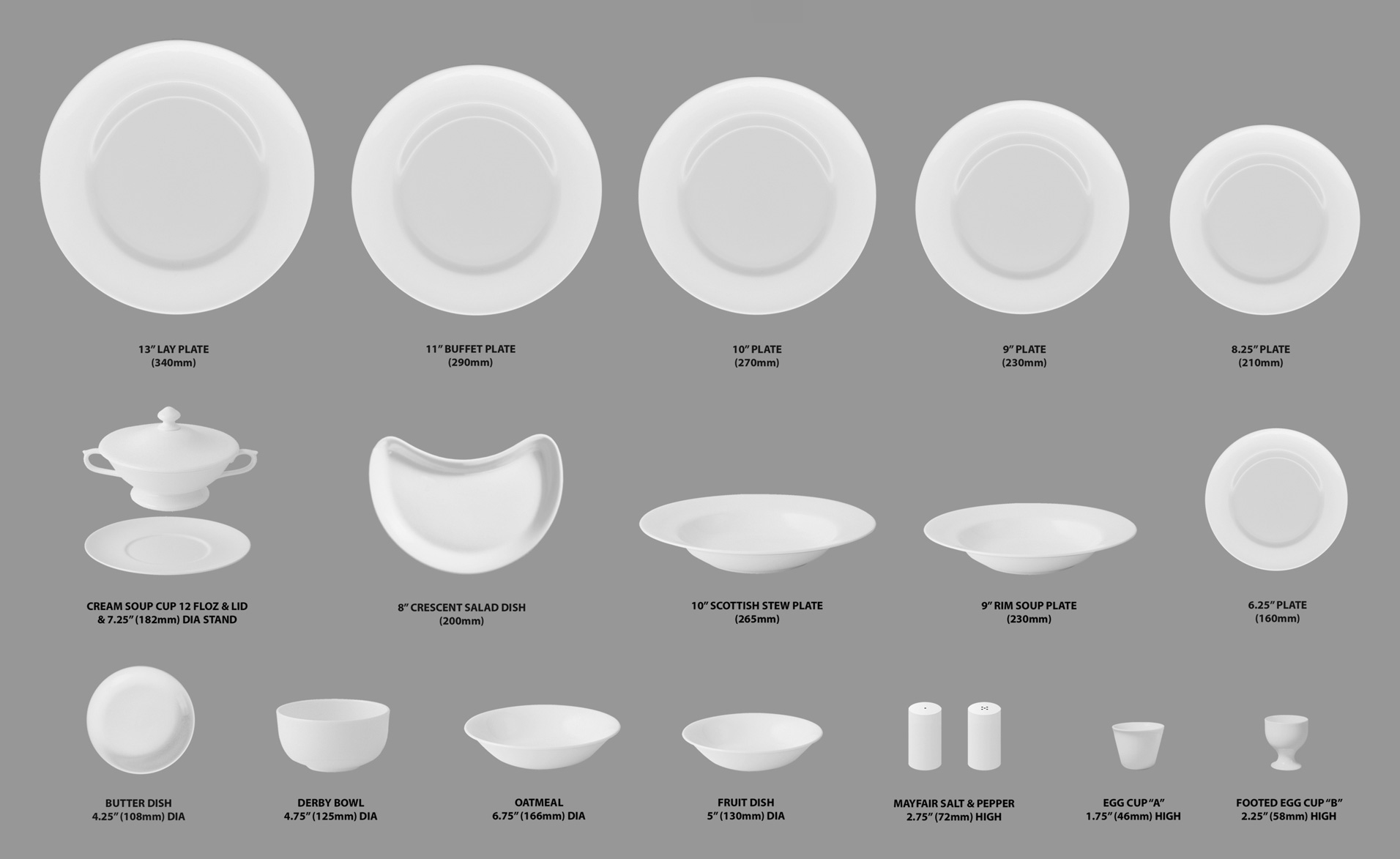 Royal Buckingham Bone China Tableware Shapes Guide